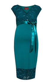 Twilight Maternity Lace Dress Emerald Blue