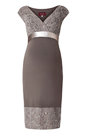 Twilight Lace Maternity Dress (Mocha)