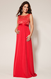 Valencia Maternity Gown Long Sunset Red