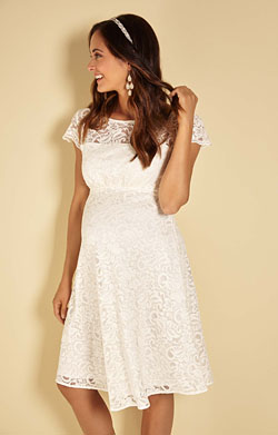Viola Maternity Lace Dress Ivory