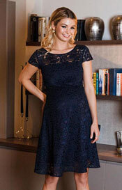 Viola Lace Maternity Dress Short Navy