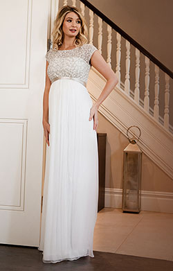 Mia Silk Maternity Bridal Gown Ivory