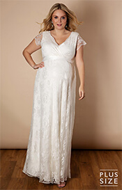 Eden Lace Plus Size Gown Long Ivory