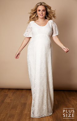 Edith Kimono Plus Size Maternity Wedding Gown Ivory