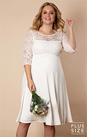 Lucia Plus Size Maternity Wedding Dress Short Ivory White