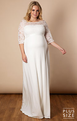 Lucia Plus Size Maternity Wedding Gown Long Ivory White