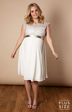 Mia Plus Size Maternity Dress Ivory