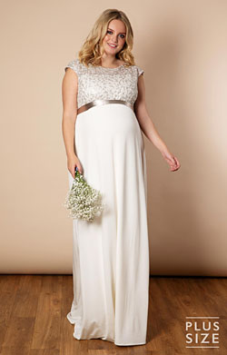 Mia Plus Size Maternity Wedding Gown in Ivory
