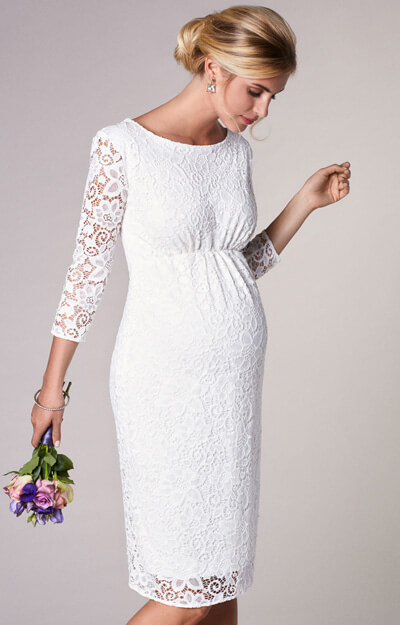 Abigail Maternity Lace Wedding Dress Ivory White