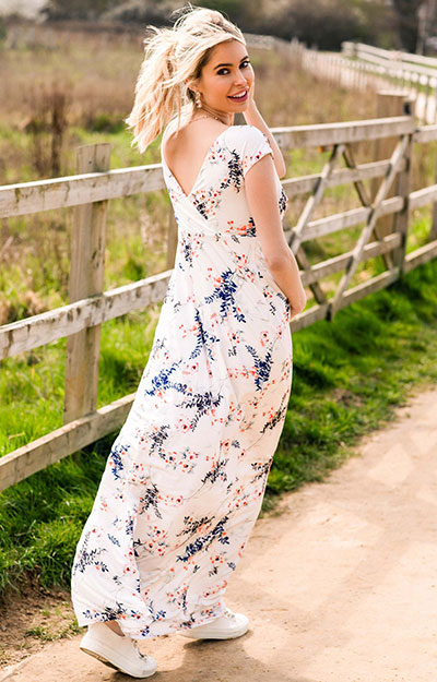 Alana Maternity Maxi Dress Japanese Garden