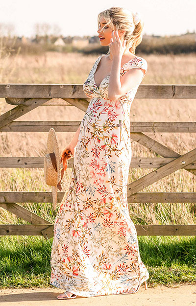 Alana Maternity Maxi Dress Watercolour Meadow by Tiffany Rose