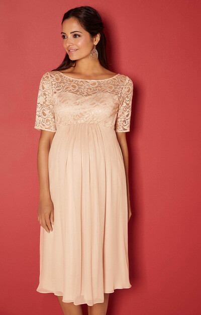 Alaska Maternity Silk Dress in Peach Blush by Tiffany Rose