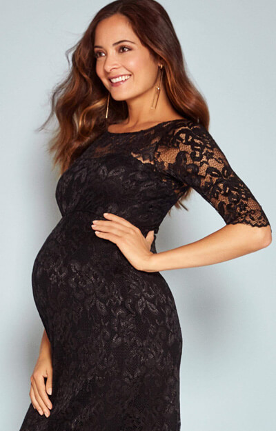 Amelia Lace Maternity Dress Short (Black) - Maternity Wedding ...