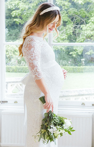 Amelia Lace Maternity Wedding Dress Long (Ivory)