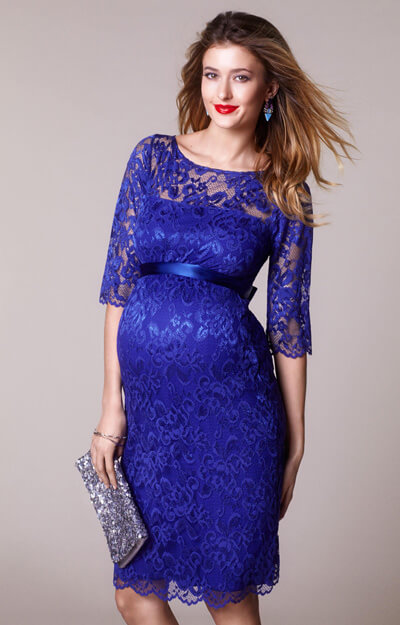 Amelia Maternity Lace Dress Short Royal Blue