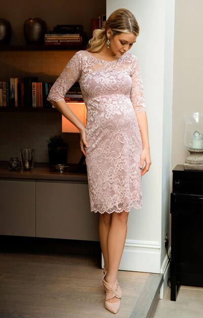 Amelia Lace Maternity Dress Short Vintage Rose