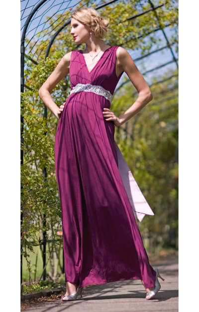 Anastasia Maternity Gown (Berry) with Diamante Sash