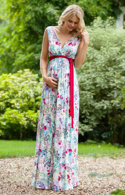 Anastasia Maternity Long Maxi Dress in Poppy floral print by Tiffany Rose