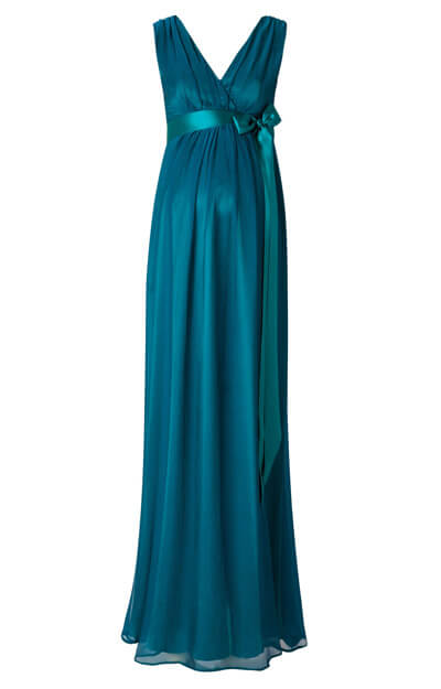 Ava Maternity Gown Long Aegean Blue