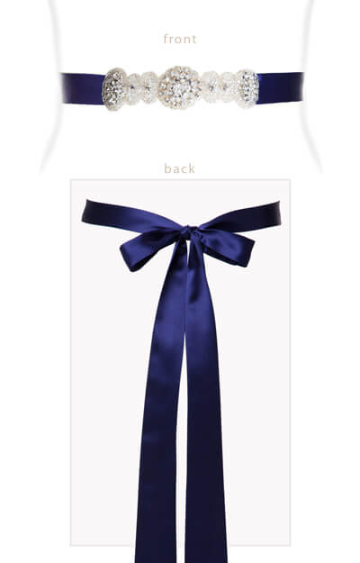 Aurelia Vintage Ribbon Sash Eclipse Blue by Tiffany Rose