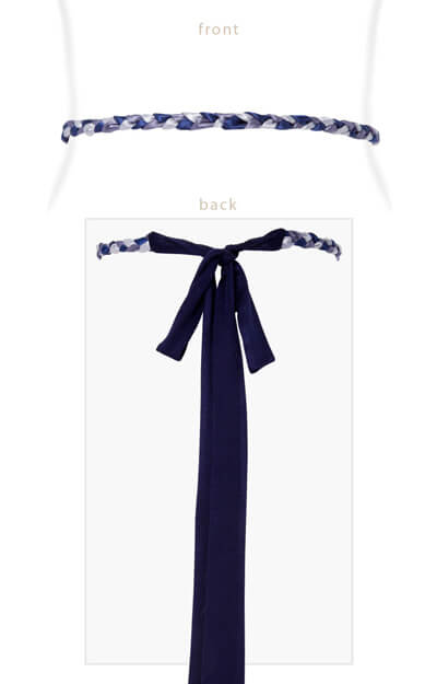 Plaited Ribbon Sash Blue