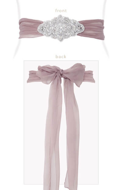 Silk Crystal Sash Dark Mauve