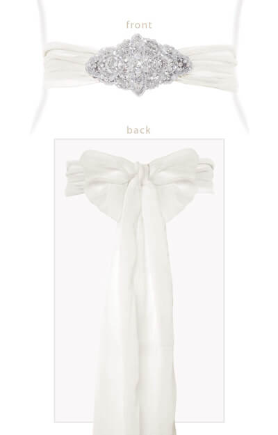 Silk Crystal Sash Ivory by Tiffany Rose