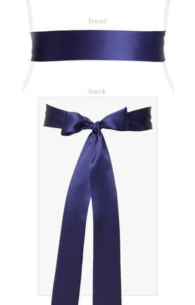 Silk Satin Sash Long Indigo Blue