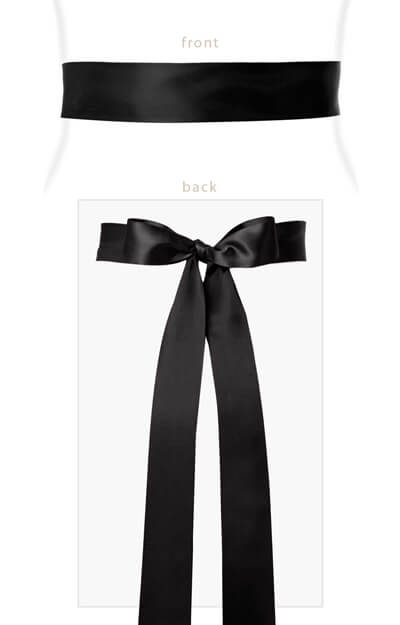 Smooth Satin Sash Long Black by Tiffany Rose
