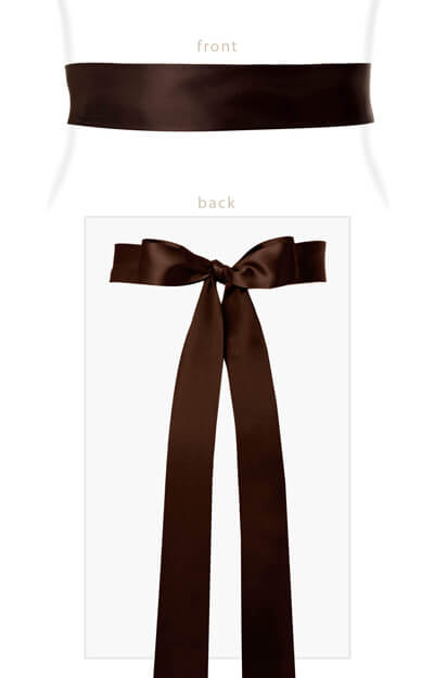 Smooth Satin Sash Long Dark Chocolate by Tiffany Rose
