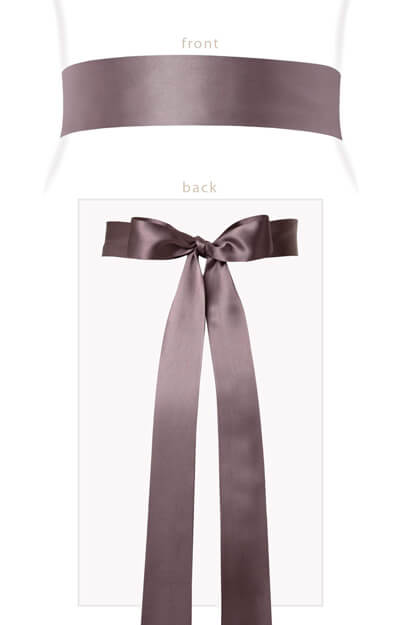 Smooth Satin Sash Long Dove Grey