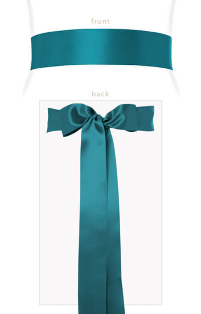 Smooth Satin Sash Long Dark Teal by Tiffany Rose