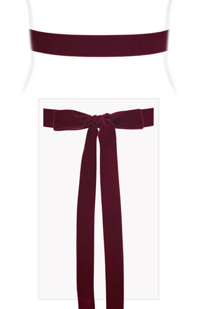 Velvet Ribbon Sash Burgundy by Tiffany Rose