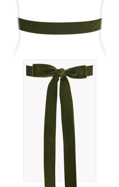 Velvet Ribbon Sash Moss Green by Tiffany Rose
