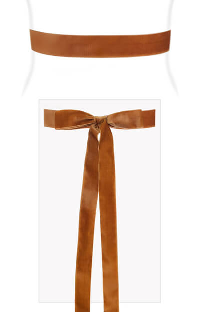 Velvet Ribbon Sash Rust Orange by Tiffany Rose