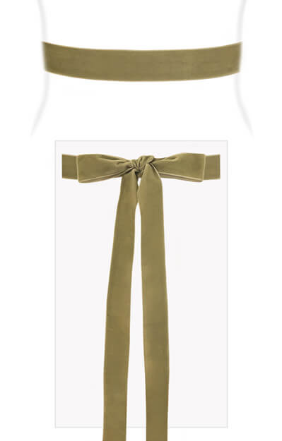 Velvet Ribbon Sash Sage Green by Tiffany Rose
