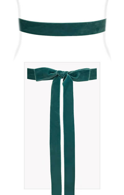 Velvet Ribbon Sash Teal Green by Tiffany Rose