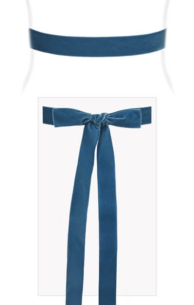 Velvet Ribbon Sash Williamsburg Blue by Tiffany Rose