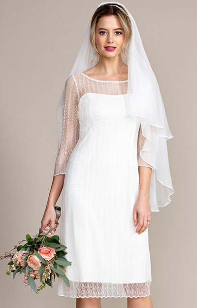 Silk Wedding Veil Short (Ivory White) by Tiffany Rose