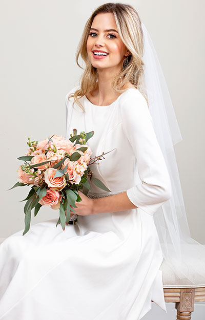 Cut Edge Wedding Veil Short (Ivory White / Jewel Trim) by Tiffany Rose