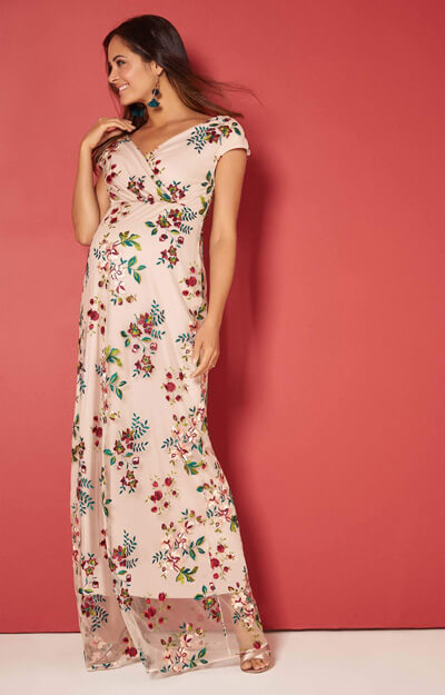 Bailey Maternity Embroidered Floral Gown Blushing Blooms by Tiffany Rose