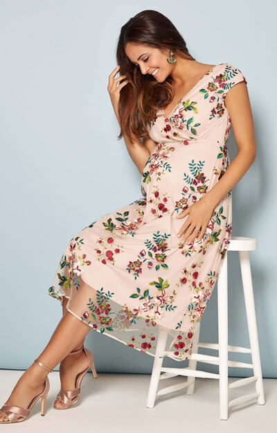 Bailey Maternity Midi Dress (Blushing Blooms)
