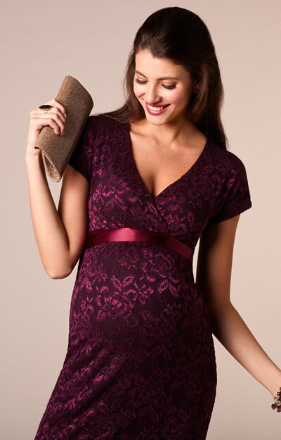 Bridget Maternity Lace Dress Claret