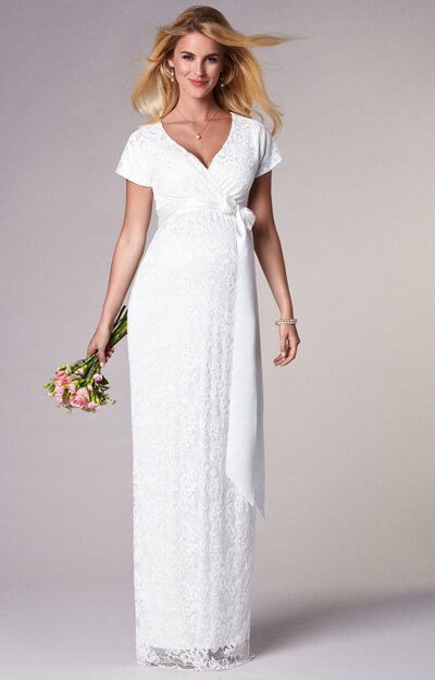 Bridget Maternity Wedding Gown Long Ivory