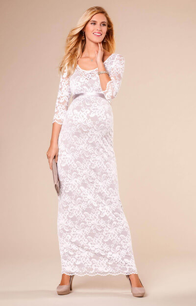 Charlotte Maternity Lace Gown Oyster Cream by Tiffany Rose
