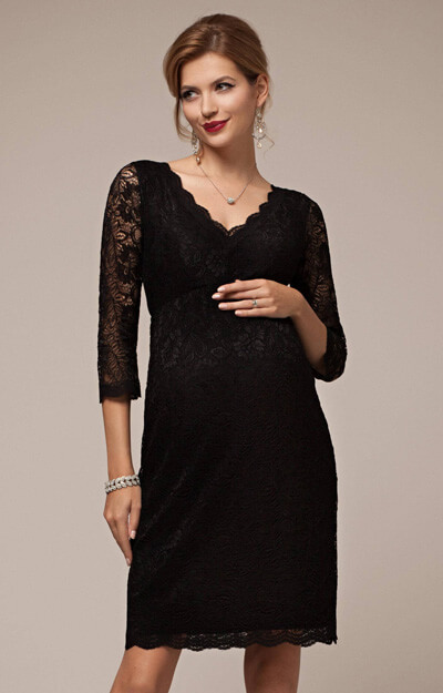 Chloe Lace Maternity Dress Black by Tiffany Rose