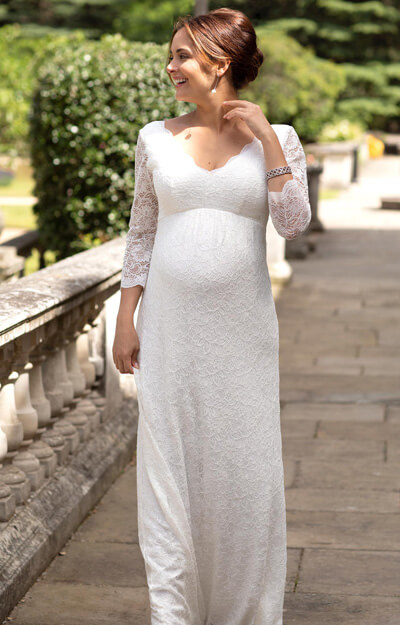 Chloe Lace Maternity Wedding Gown Ivory
