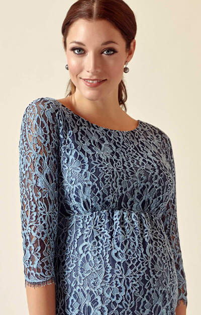 Clemence Lace Maternity Dress Steel Blue