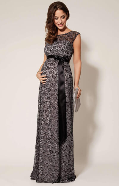 Daisy Maternity Gown Long Black and Silver - Maternity Wedding ...