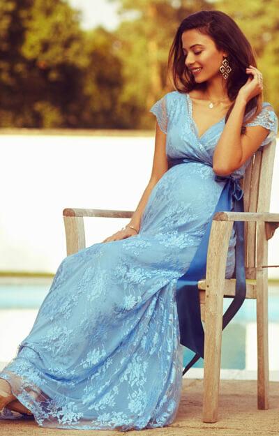 Eden Maternity Gown Long Dusk Blue - Maternity Wedding Dresses ...